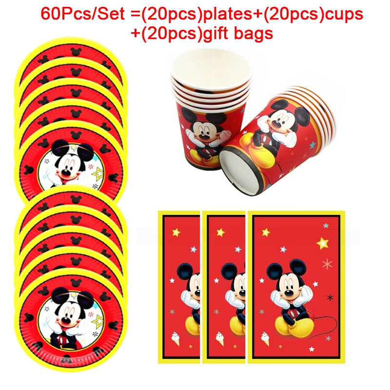Baby Disney Red Mickey Mouse Birthday Party Supplies Paper Plates Cups Tableware For Kids Christmas Party Decorations Gift Bags