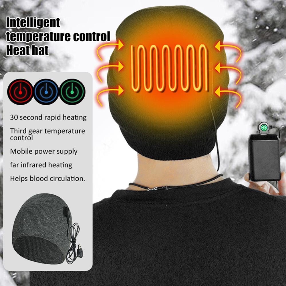 Интеллектуальная умная теплая шапка с подогревом, лыжная осенняя и зимняя Удобная вязаная шапка с электрическим подогревом
