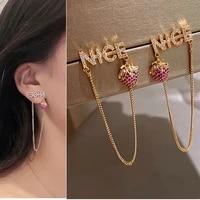 fashion korea rhinestone long tassel letter nice strawberry pendant drop earrings for women crystal metal chain dangle earrings