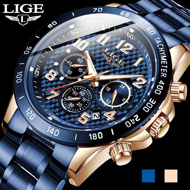 2020 New Arrival Men Watches LIGE Top Luxury Brand Sport Watch Men Chronograph Quartz Wristwatch Date Male Relogio Masculino+Box