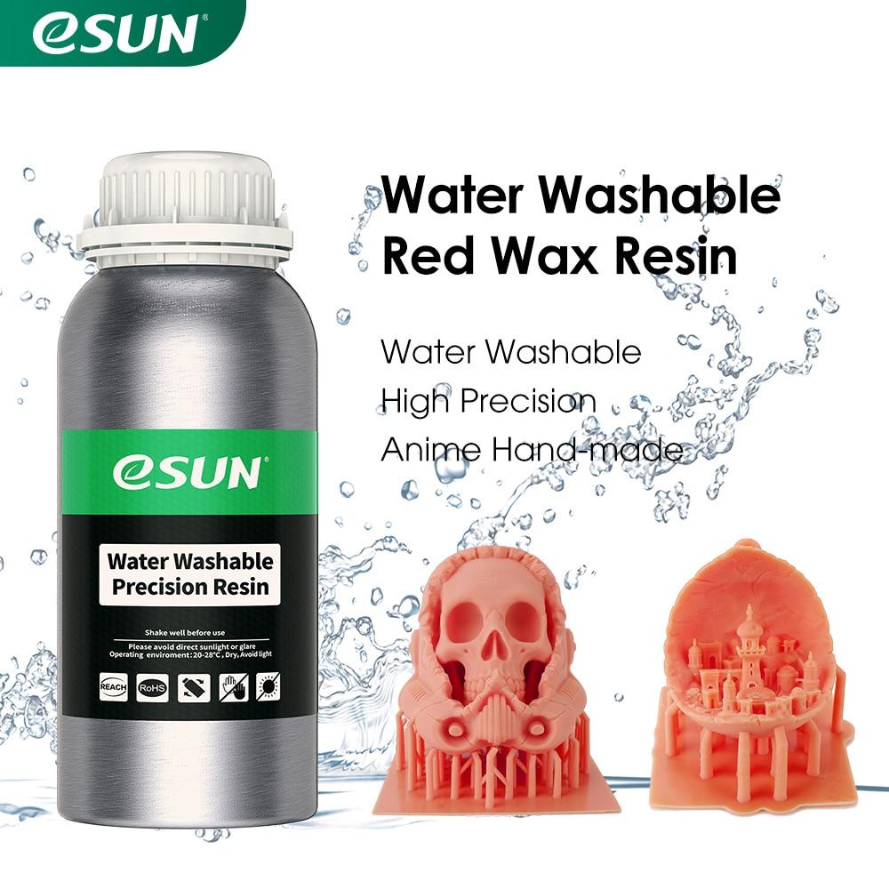 طابعة eSUN LCD UV 40nm عالية الدقة ثلاثية الأبعاد قابلة للغسل بالماء وشمع أحمر راتنج لطابعة الفوتون UV علاج طابعة LCD ثلاثية الأبعاد 500g