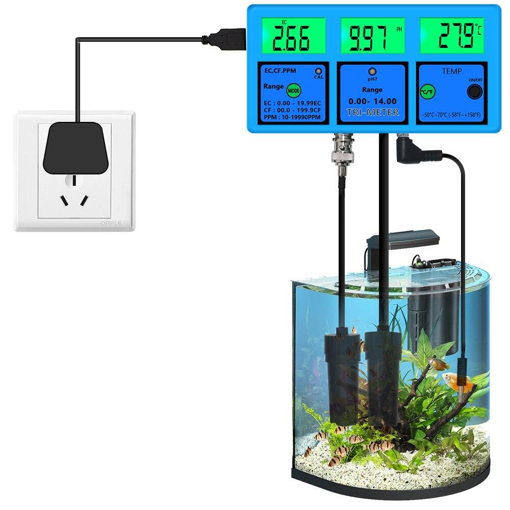 PH-117 multi-parâmetro ph/ec/cf/tds/temp 5 em 1 testador medidor de ph monitor de qualidade de água ce ferramenta de análise para aquário 40% de