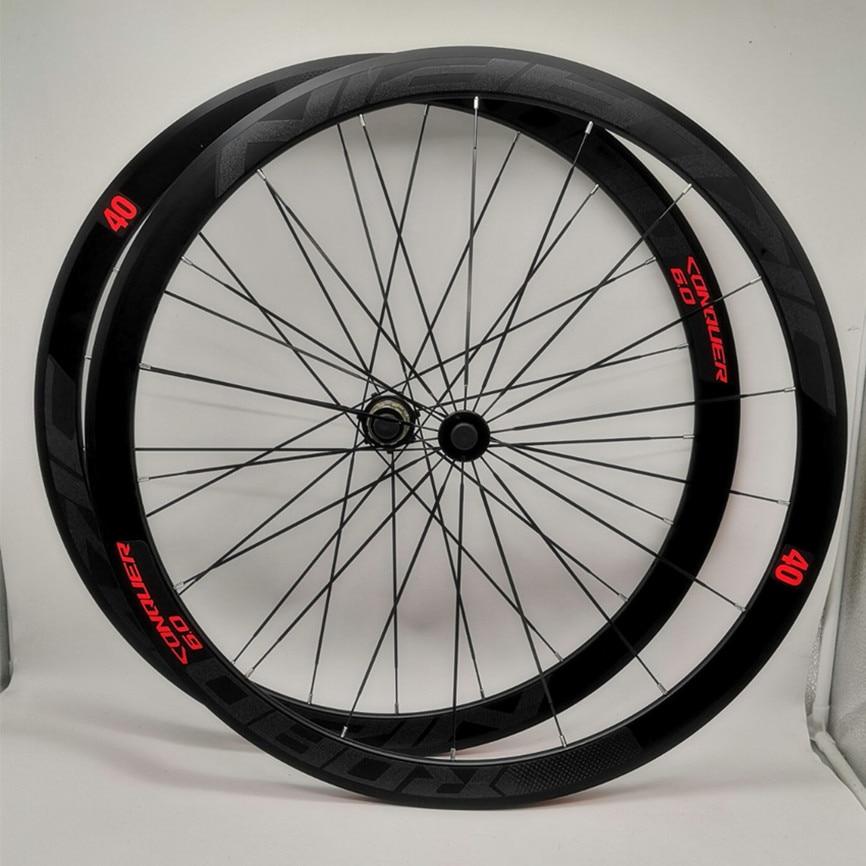 C6.0 700C juego de ruedas para bicicleta de carretera, juego de ruedas de aleación con cojinete de sellado con aluminio, Radio plana, llanta de 40mm, calcomanía antivuelco de freno