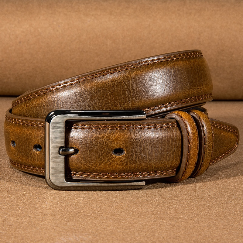 Hi-Tie Fashion Brown Simple Thin Leather Belts for Men Cowboy Pin Buckle Vintage Casual Jeans Belt Strap 3.3cm width Narrow Belt