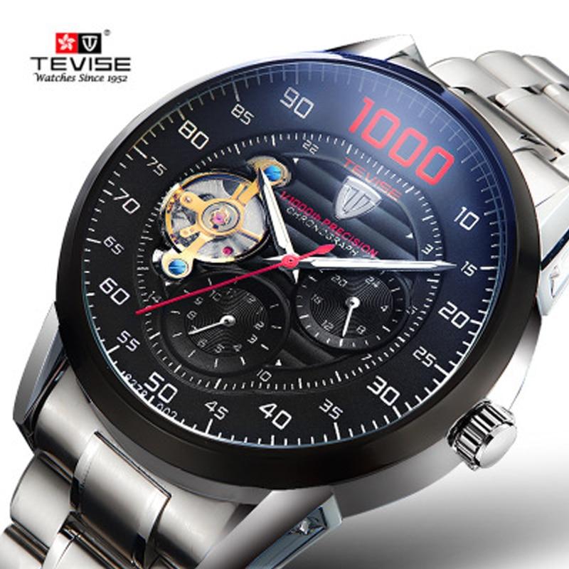 Reloj mecánico automático TEVISE para hombre, Tourbillon hueco, resistente al agua, reloj de pulsera grande para hombre