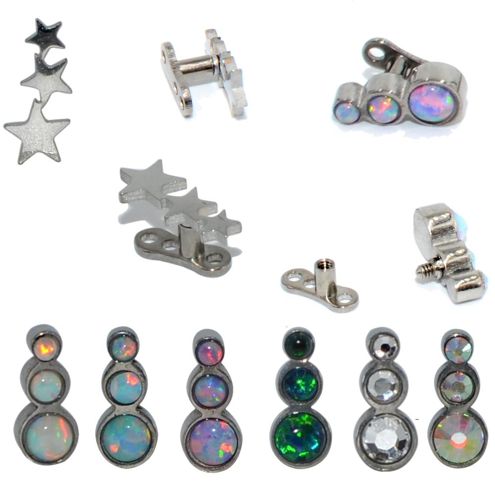 1PC Steel/Titanium Base Micro Dermal Anchor Opal Trio Star CZ Gem Internally Threaded Dermal Anchor Skin Diver Piercing Jewelry