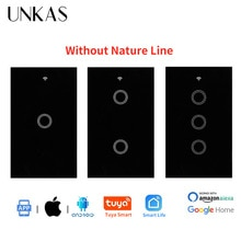 UNKAS-interrupteur électrique   1/2/3 Gang Standard américaine, Tuya, vie intelligente Wifi murale, interrupteur tactile, verre cristal, ligne de feu simple