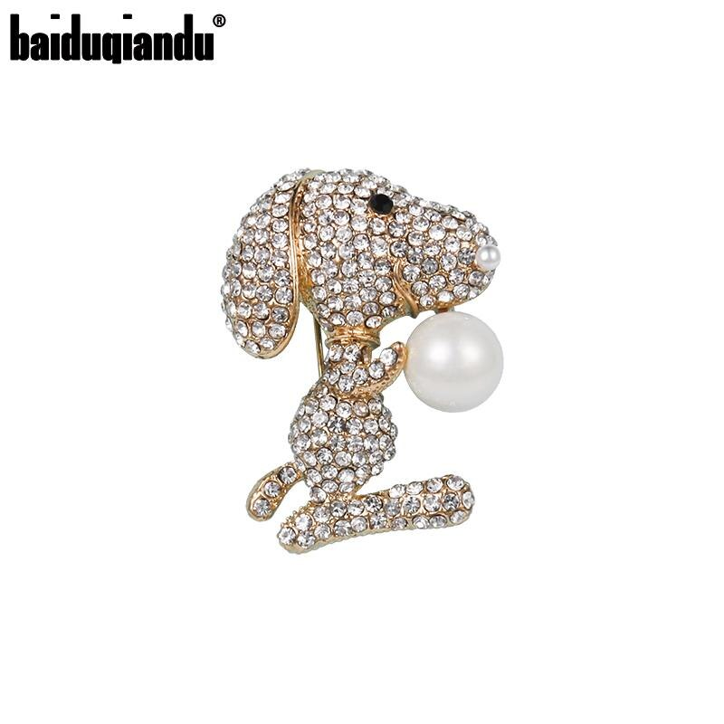 Baiduqiandu Nieuwe Aankomst Steentjes Crystal Leuke Hond Broche Pins Fashion Jurk Sieraden Accessoires