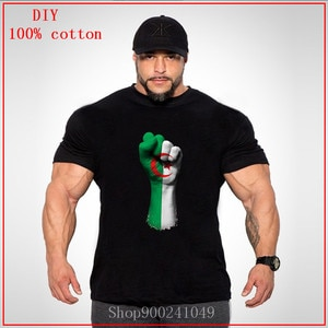 2020 Boyfriend's Day Gift Flag of Algeria on a Raised Clenched Fist big size t shirts men Plus Size Big Size Large Clothing