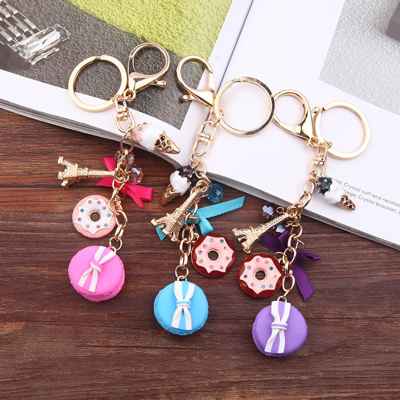 Macarrones, tarta llavero llaveros con Francia Torre Eiffel de París Macarons cinta llaveros bolso encanto accesorios de regalo