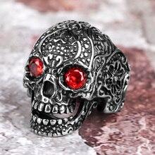 Stal nierdzewna mężczyźni pierścienie czerwony stras oczy czaszka Punk Rock Gothic dla rowerzysty mężczyzna chłopak biżuteria kreatywność prezent hurtownie
