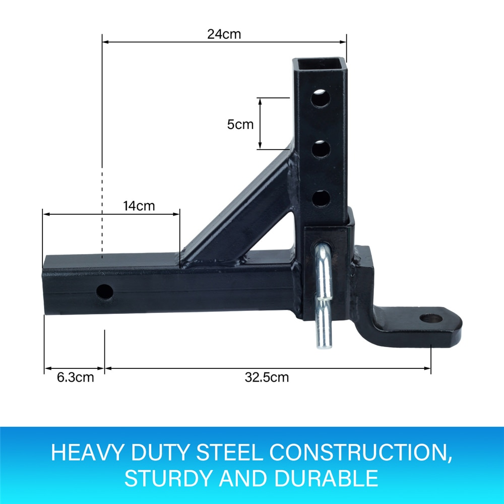 Adjustable Height Tow Hitch 50mm Ball Tow Bar Drop Mount Tongue Trailer for 2
