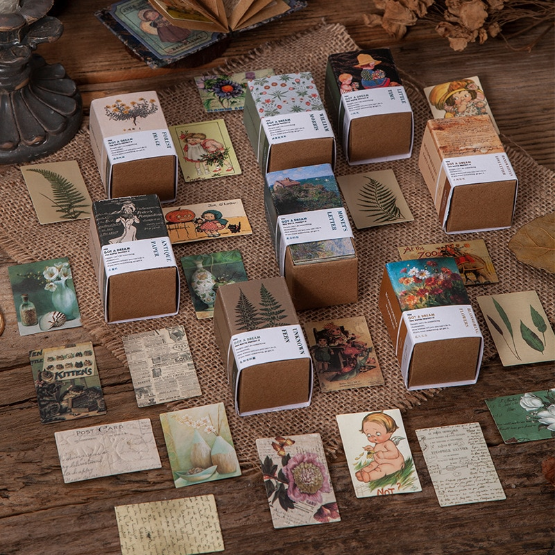 100pcs Vintage Book collection 2 series Kraft Paper Mini Greeting Card Postcard DIY Decoration Material  Retro LOMO Card