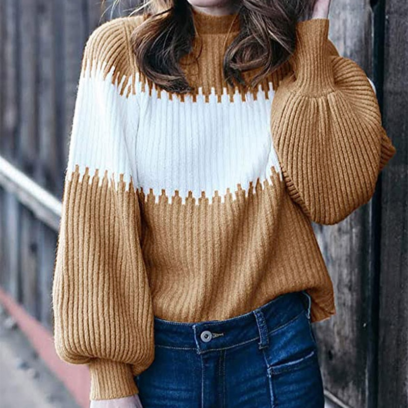 Autumn Patchwork Knitted Ribbed Women's Sweaters Turtleneck Long Lantern Sleeve Female Pullover Streetwear Casual Ladies Sweater