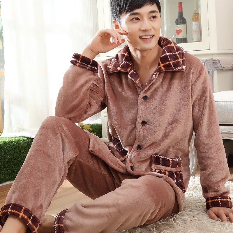 Winter Men's Pajamas Thicken Flannel Sleep Pajama Set Sleepwear