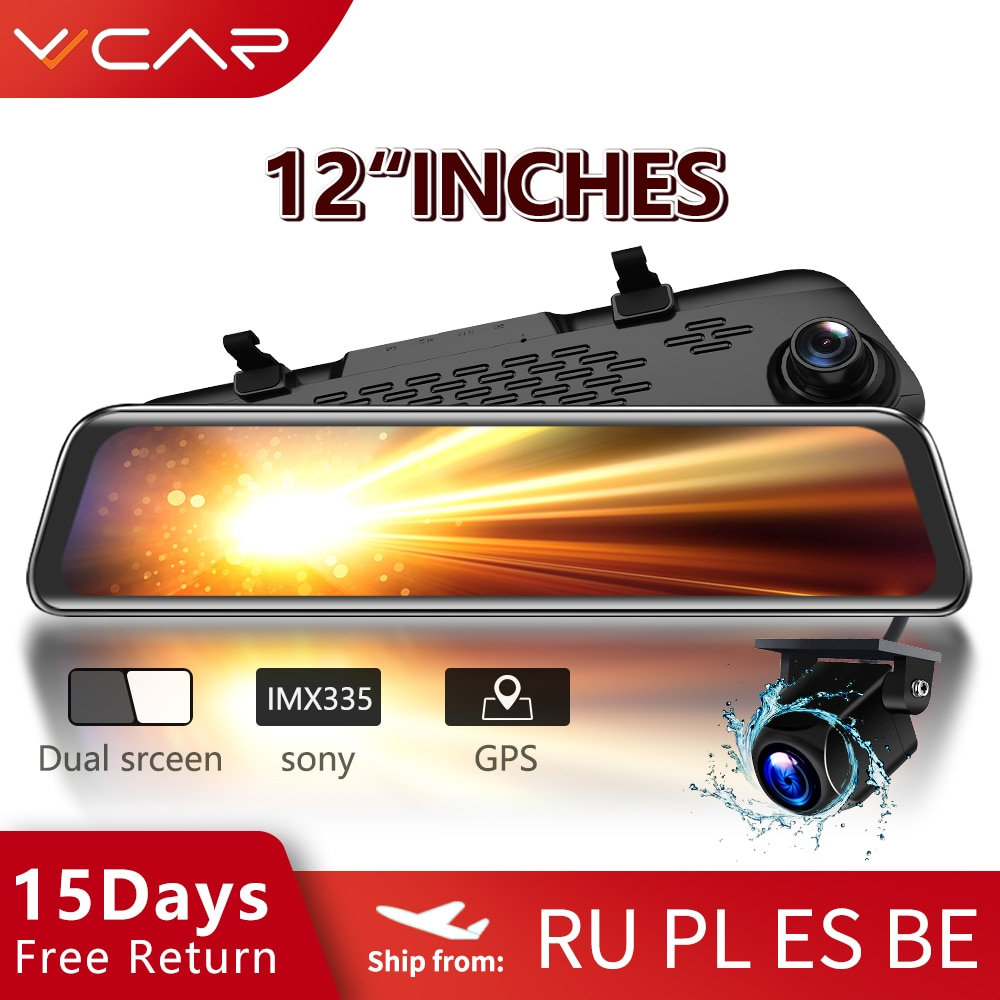 VVCAR-V17 Car Dvr Camera GPS 12-inch RearView Mirror FHD Dual 1080P Lens Driving Video Recorder Dash Cam