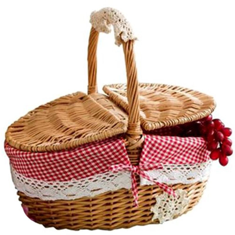 Hand Made Wicker Basket Wicker Camping Picnic Basket Shopping Storage Hamper and Handle Wooden Wicke