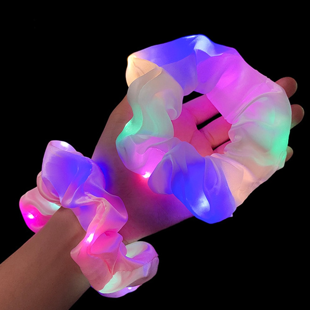 2020-new-arrival-girls-led-luminous-scrunchies-hairband-ponytail-holder-headwear-elastic-hair-bands-solid-color-hair-accessories