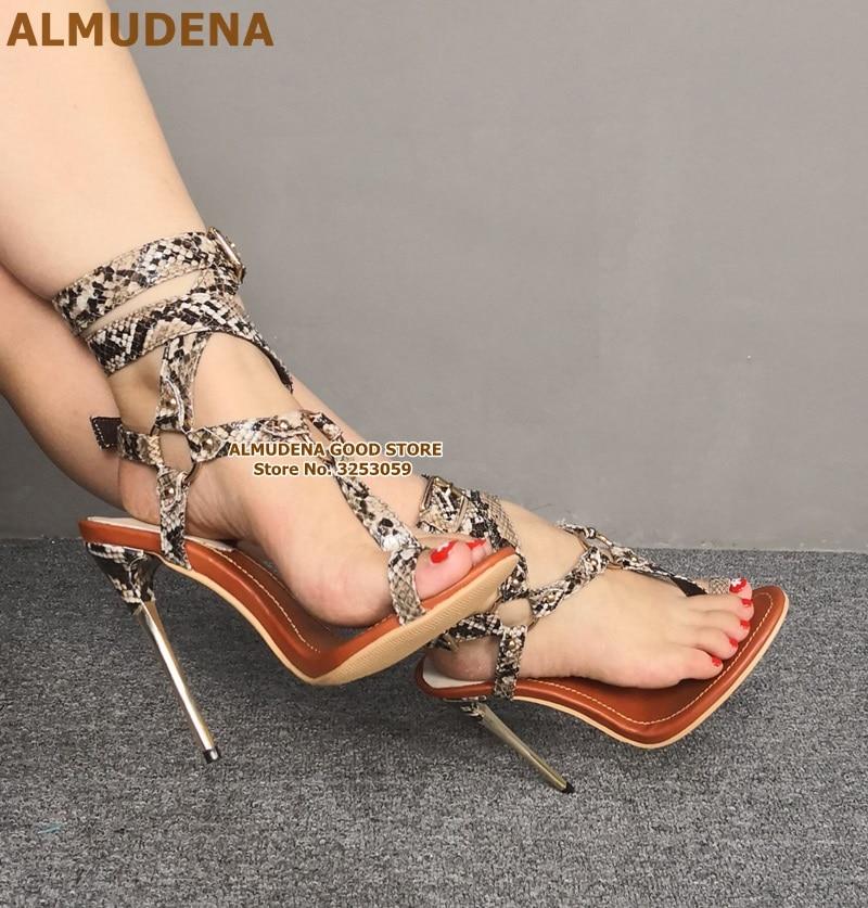 ALMUDENA-صندل بكعب عالٍ بإبزيم حلقي معدني ، حذاء مثير من جلد الثعبان بإبزيم ، مقاس كبير
