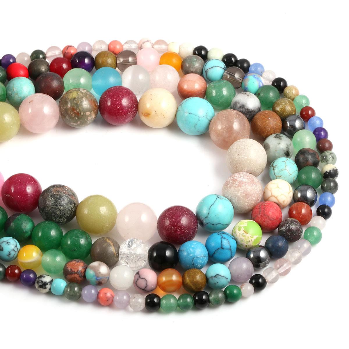 Natural Stone Beading Mixed color beads Round Loose BeadsIsolation beads  for DIY Elegant Necklace Bracelet Jewelry Making