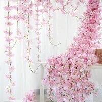 Guirlande de fleurs de cerisier artificielles 2 3 m  fausse vigne de lierre pour decoration de mariage  pour arc  pour fete  decor de maison
