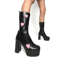 2021 sexy lady boots zip heart shaped super high heel platform fashion mid calf women boots large size 43 summer woman shoes
