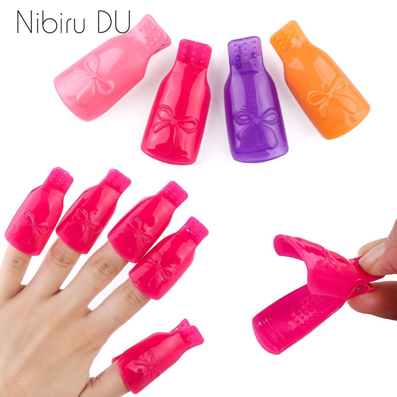 5/10 pçs plástico acrílico prego arte embeber uv gel polonês removedor fora do tampão clipes envoltório ferramenta fluido para a remoção de verniz manicure ferramentas
