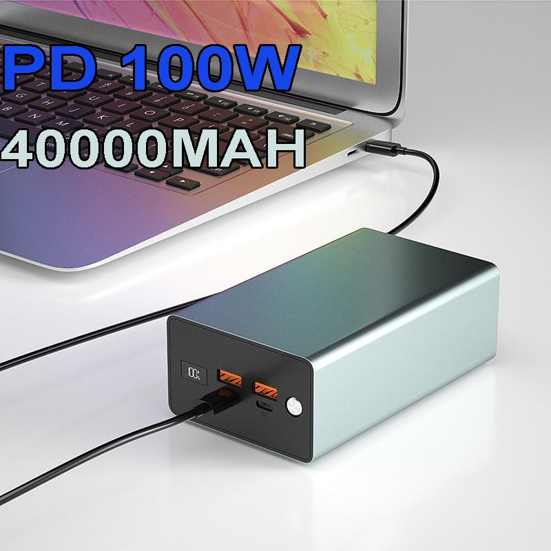 شاحن سريع QC3.0 USB ثنائي USB C PD Powerbank 100 واط 60 واط 65 واط محمول باور بانك للماك بوك برو ديل HP 20000mah 30000mah 40000mah