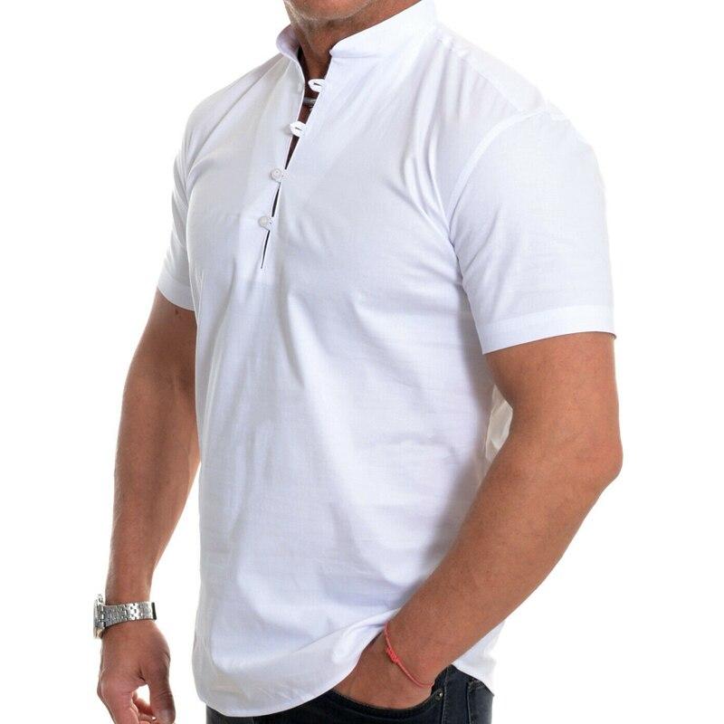 VICABO Fashion Men's Shirt Solid White Black Top Men Clothing Casual Elegant Vintage Male Shirt Clothes