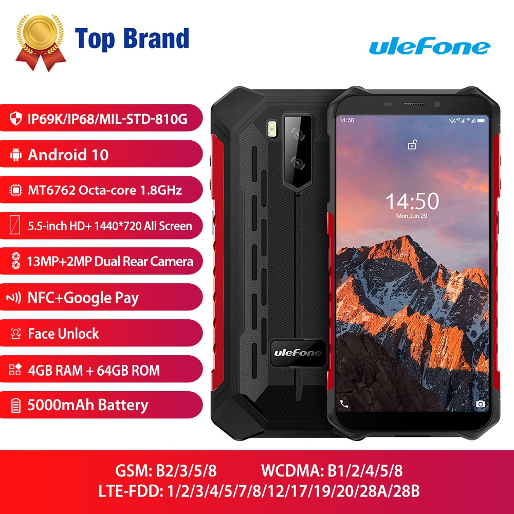 Ulefone Armor X5 Pro NFC 4G LTE Mobile Phone Android 10 Rugged Waterproof Smartphone IP68 MT6762 Cell Phone 4GB 64GB Octa core