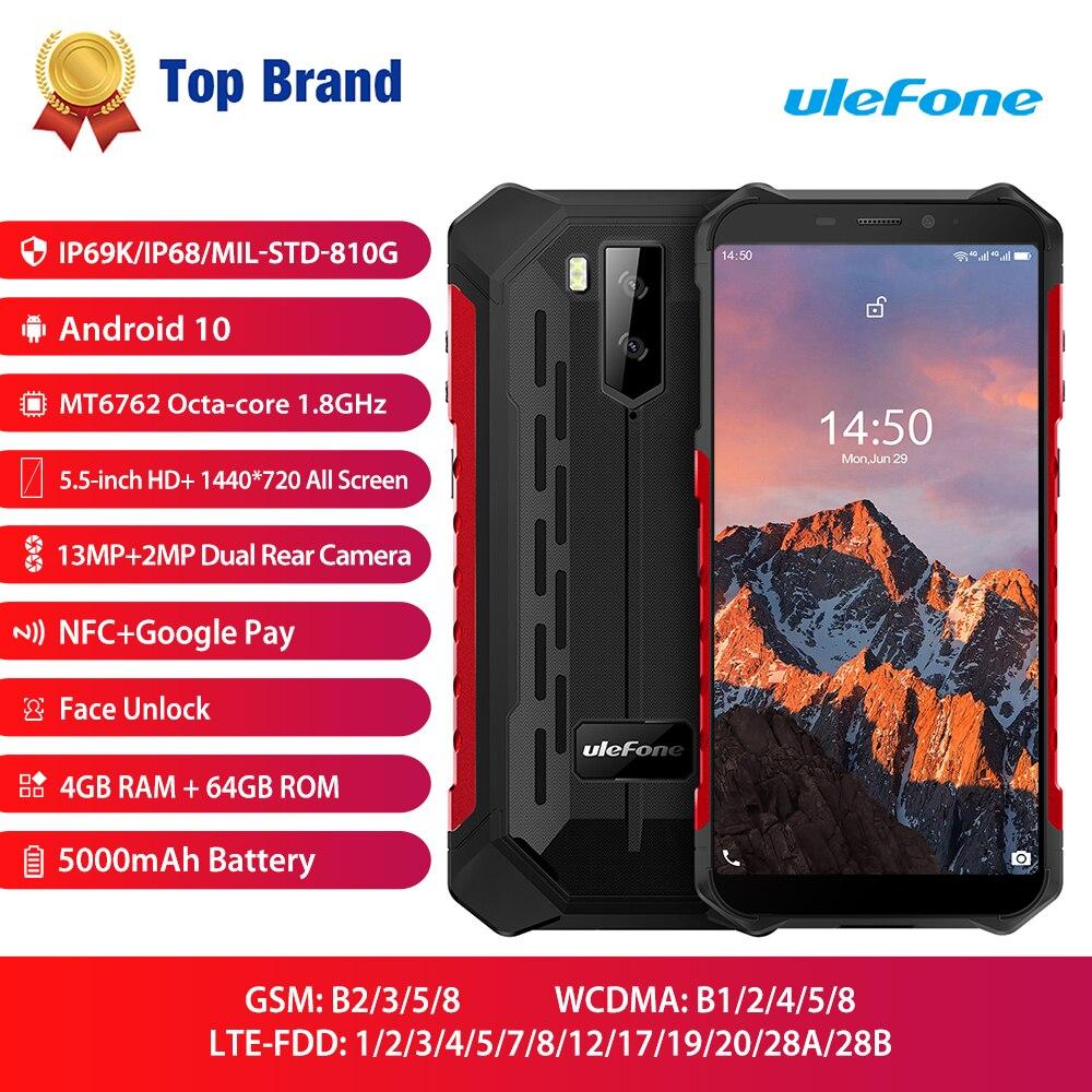 Ulefone armadura x5 pro nfc 4g lte telefone móvel android 10 áspero smartphone impermeável ip68 mt6762 celular 4gb 64gb núcleo octa
