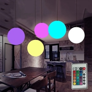 Dia20CM 30CM Nordic Globe Ball Pendant Light With Remote RGBW Color Changeable Hnging Lights For Dining Room Restaurant Hotel