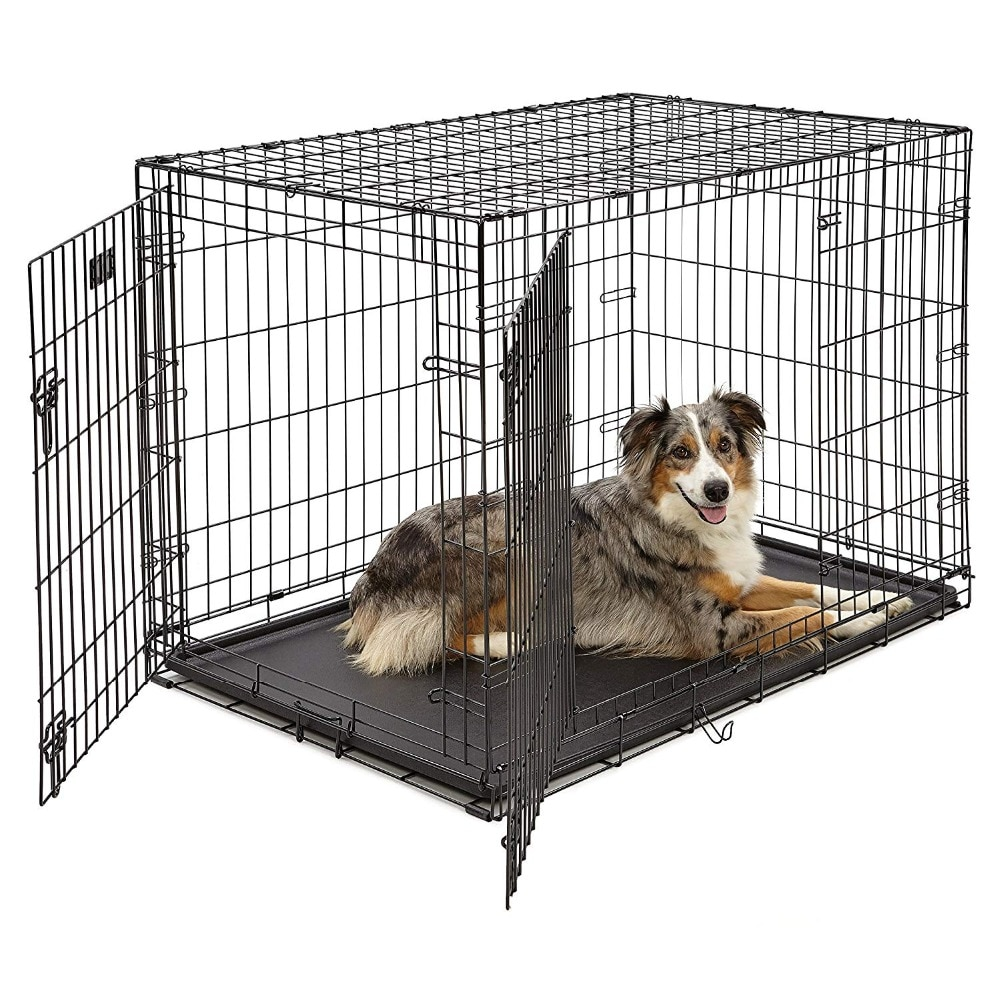 Homes Cage For Pets Dog Single Door&Double Door Folding Metal 42L x 30W x 28H Inches Dog Crates Includes Leak-Proof Plastic Tray
