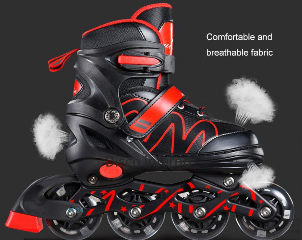 Регулируемые роликовые коньки из искусственной кожи, профессиональная обувь для слалома, роликовые коньки, раздвижные Бесплатные коньки д...