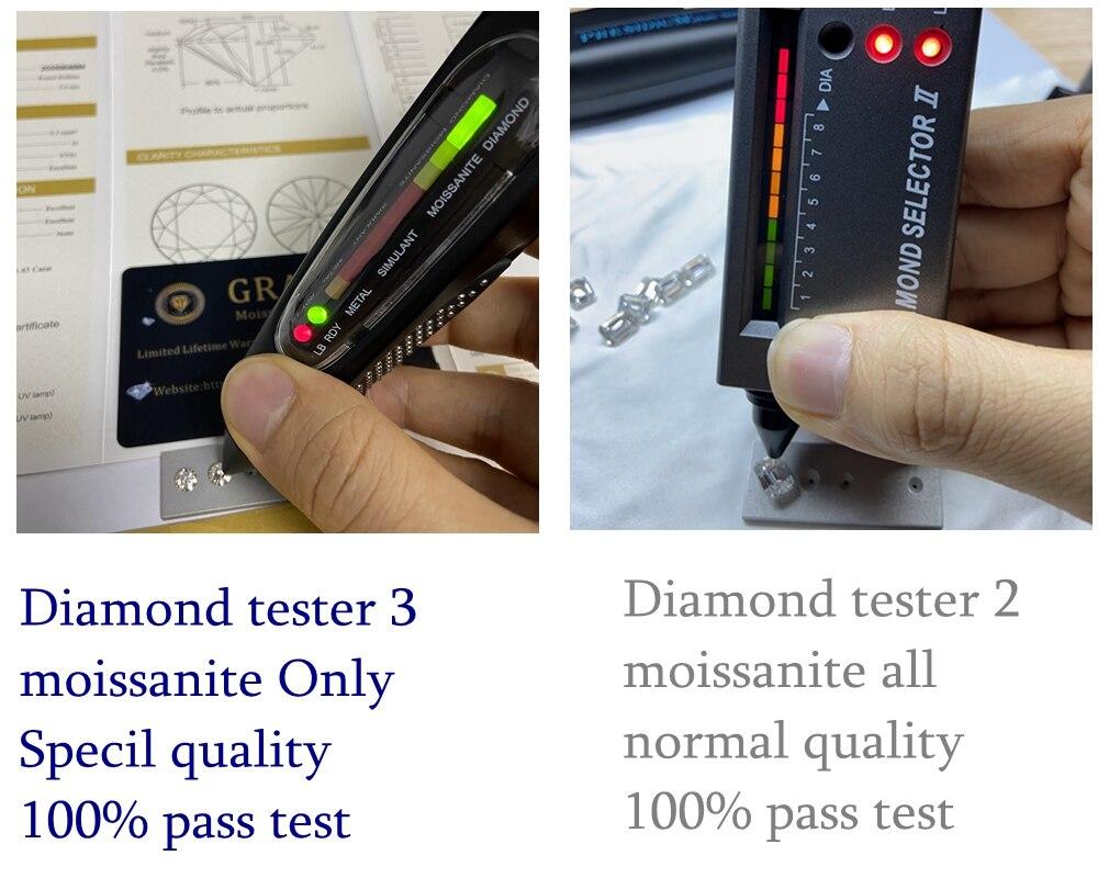 Meisidian100 ٪ تمرير إيجابي الماس تستر 3 الزمرد قطع 2cts 6x8 مللي متر DVVS مويسانيت الماس حجر
