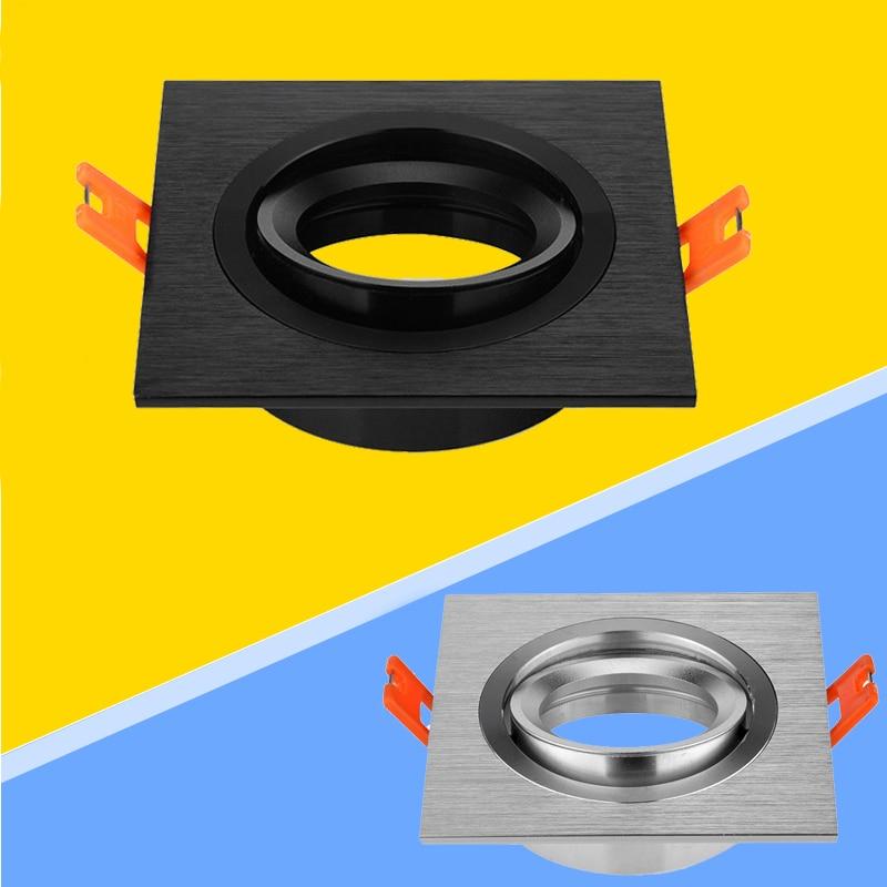Luz LED ajustable de aluminio de alta calidad de 2 uds., accesorio de montaje de 70mm en negro/plata, reflector empotrable GU10 MR16