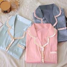 Femmes pyjamas ensemble fille soie Satin Pyjama vêtements de nuit vêtements de nuit couleur unie Pijama Mujer femme chemise de nuit vêtements de maison
