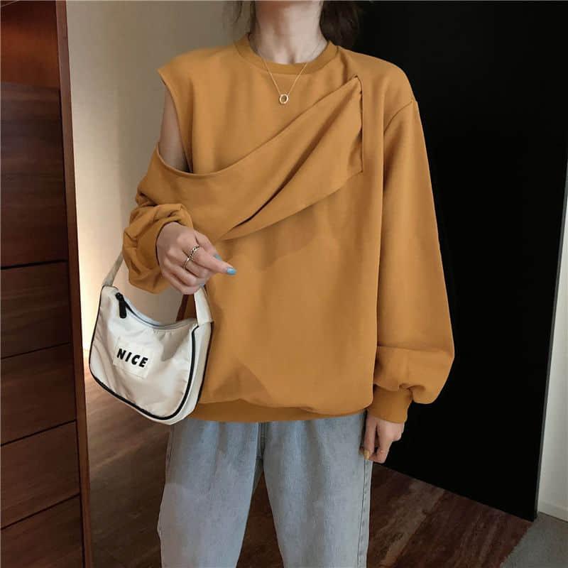 Женская кофта с длинным рукавом, свободная кофта с круглым вырезом в японском стиле, осень-весна 2021