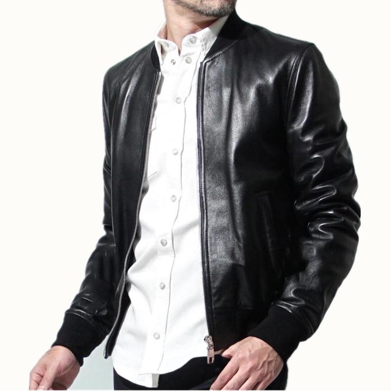 Ilk katman koyun derisi Nissan fermuar beyzbol üniforma hakiki deri giyim deri ceket erkek büyük boy ceket