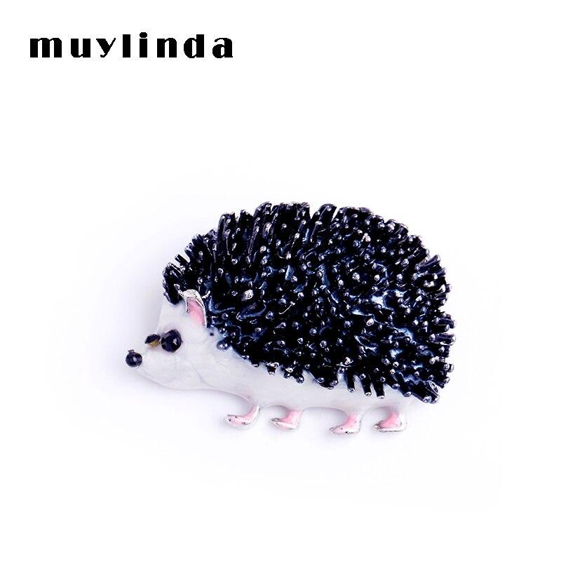 Muylinda noir émail animaux broches hérisson métal broches mode pull vêtements broche écharpe Clip cadeaux pour unisexe