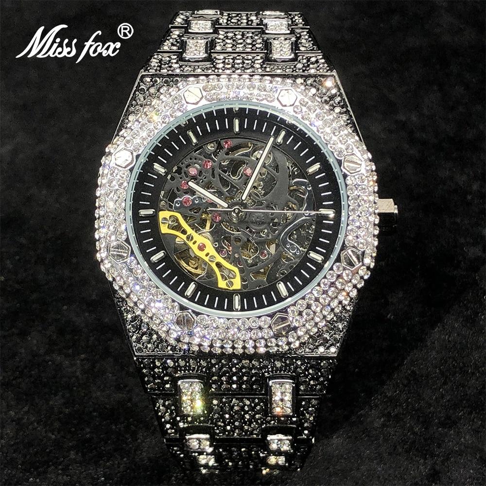 MISSFOX Automatic Men Watches Top Brand Luxury Ice Out Black Watch Hip Hop Full Diamond Mechanical Clock Relógio masculino 2021