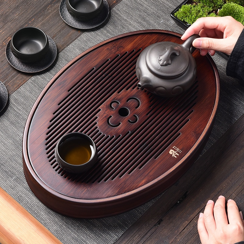 Afternoon Table Round Tea Tray Wooden Chinese Kung Fu Serving Tea Tray Drain Ceremony Bandeja Madera Trays Decorative EA60CT