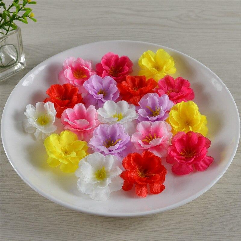 20 stücke 4,5 cm großhandel Künstliche seide pfirsich blossom plum blossom kirschblüte diy blume dance requisiten kleidung hochzeit kranz