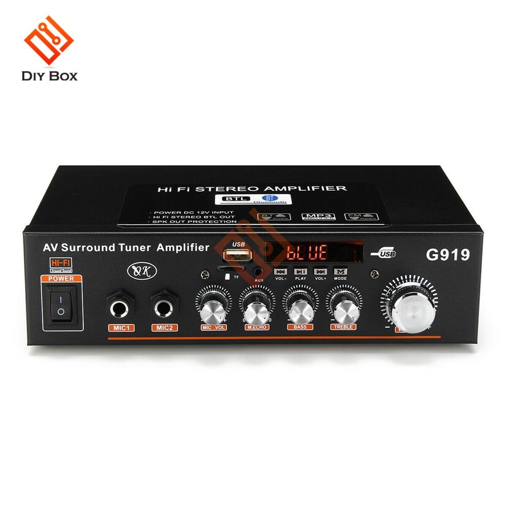 Amplificador Digital de Audio estéreo con Bluetooth, sintonizador envolvente de AC110V-220V DC12V,...