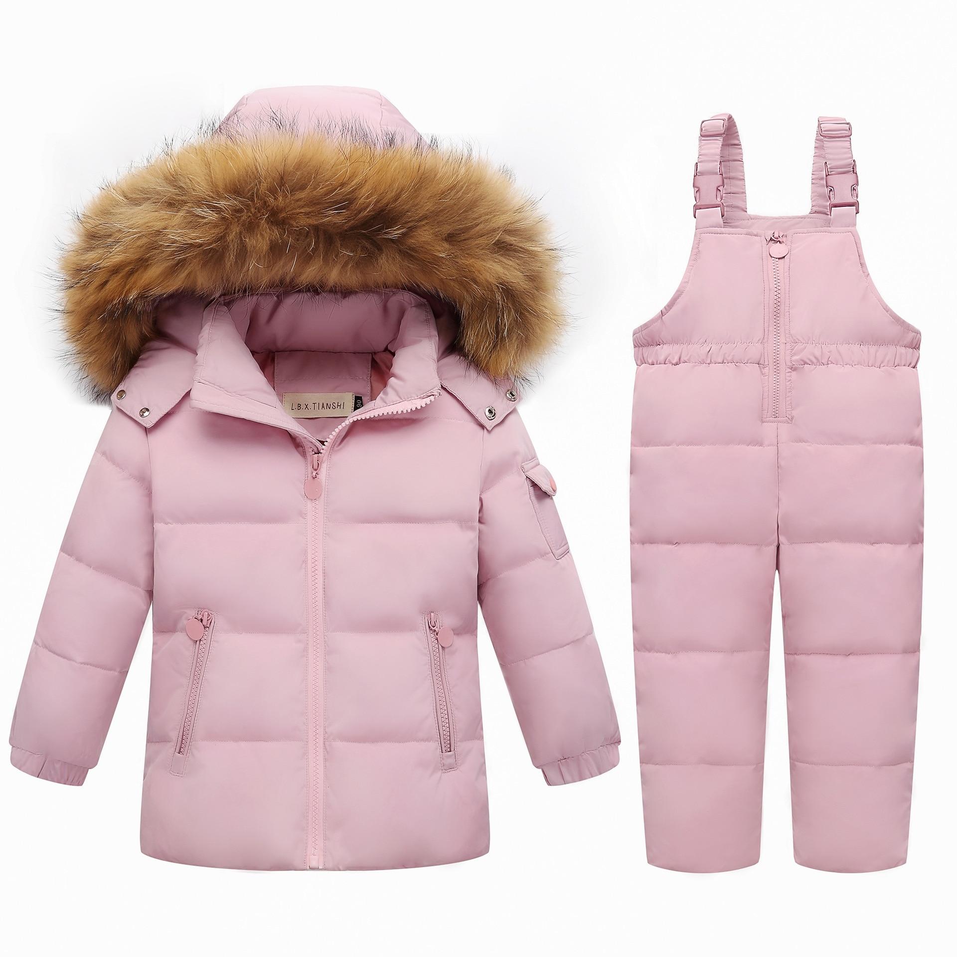 جاكيت شتوي بغطاء للرأس من الفرو الطبيعي للبنات, جاكيت للثلج للأطفال 2-5T معطف الثلوج ملابس الشتاء مجموعة ملابس الأولاد