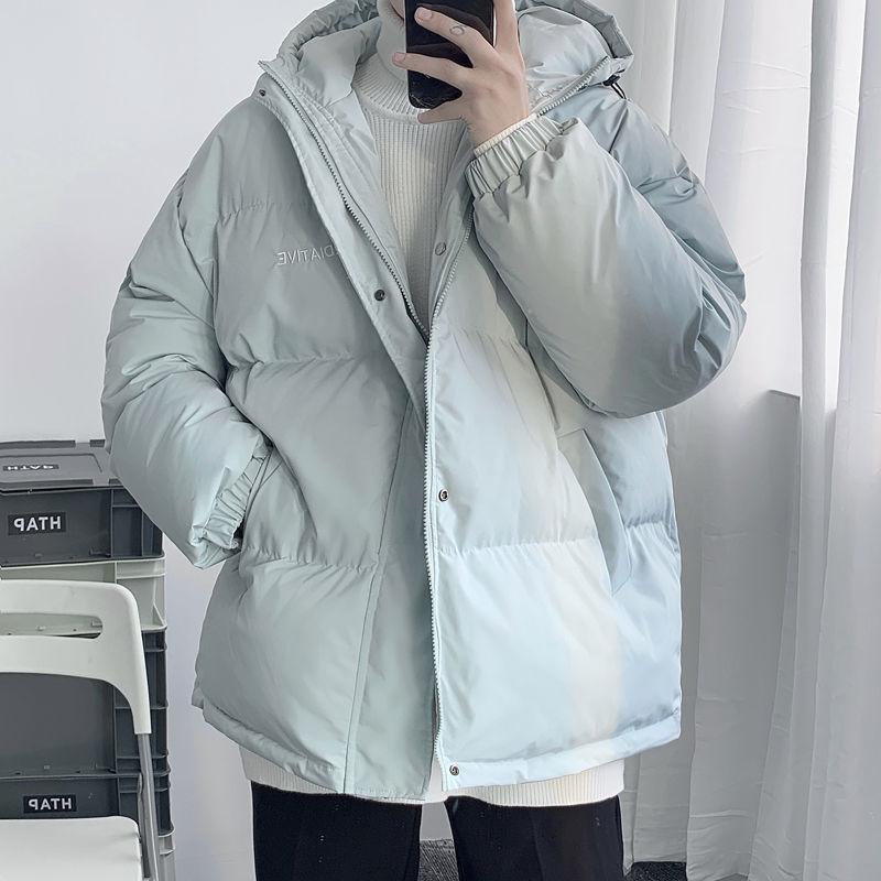 Корейские зимние теплые куртки, мужские парки, Женские однотонные толстые пальто с капюшоном, парка для мужчин