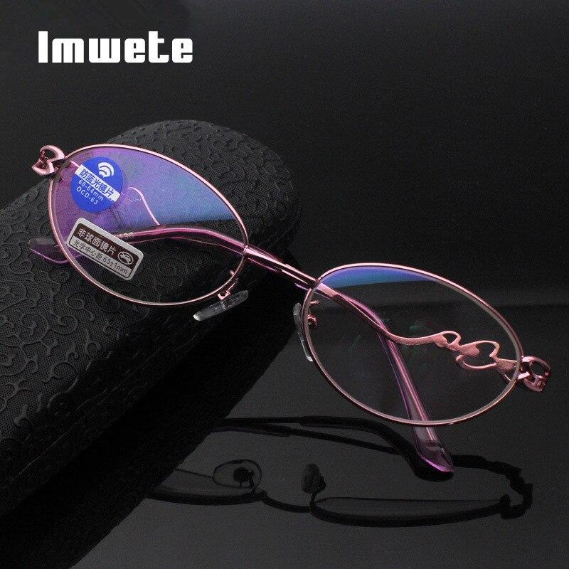 Imwete, gafas de lectura anti-luz azul para mujer, gafas clásicas de Metal transparente, gafas de ordenador para hombre, presbicia + 1,0 2,0 3,0 4,0