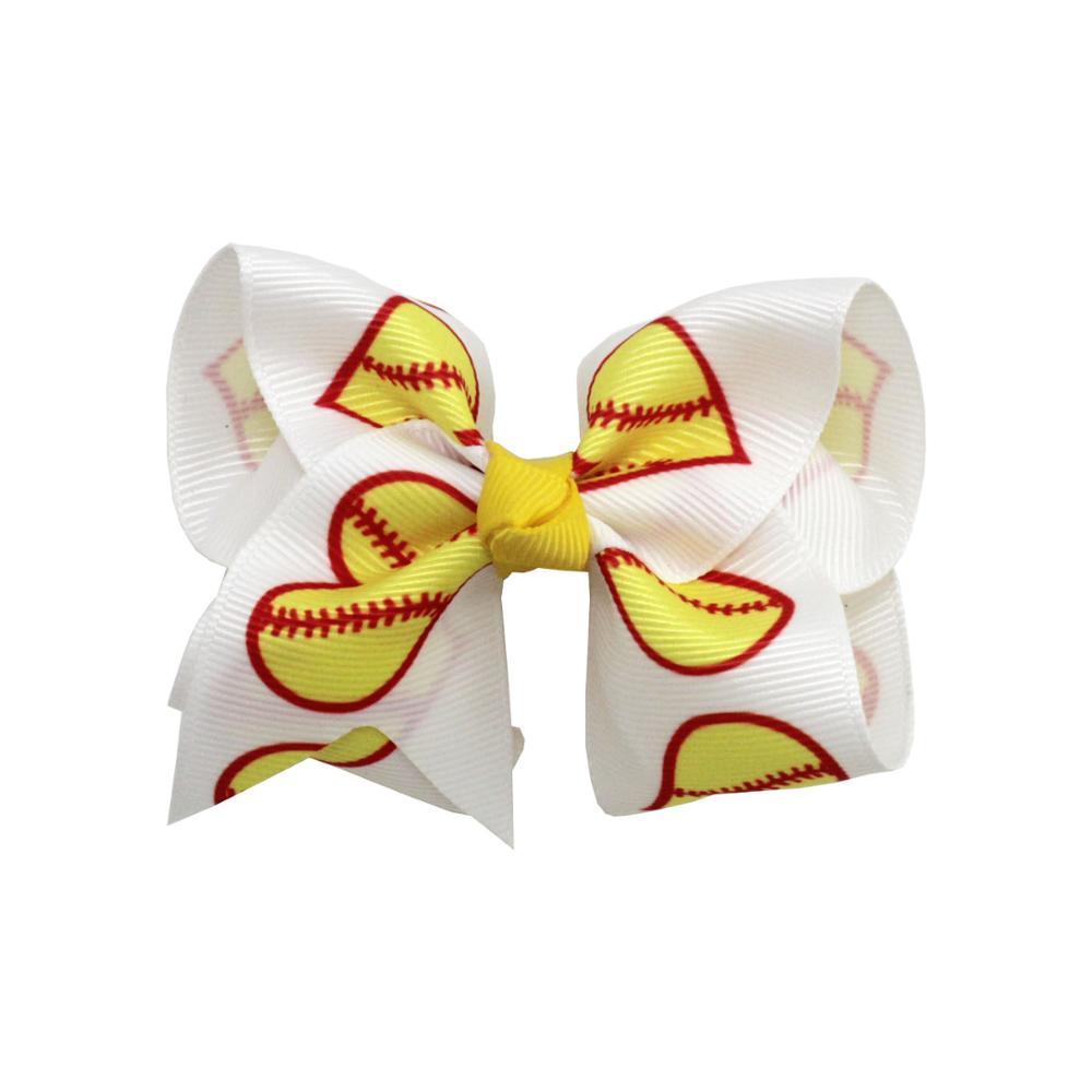 6pcs 3 Inch print baseball Hair Bows For Children girls Back To School Hair Clips Cartoon Girls Headwear Hair Accessories gifts
