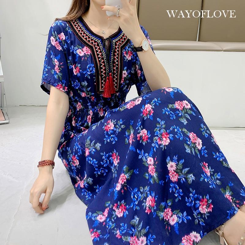 WAYOFLOVE Fashion Floral Beach Dress Women 2021 Casual Vintage Tassel Prom Long Dresses Summer Plus
