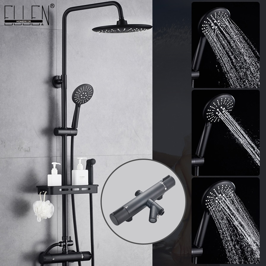 Thermostatic Shower Faucets Set Black Wall Mounted Rain Shower Faucet With Storage Shelf  Bath Mixer Tap Hot Cold  EL3905 black shower set luxurious bath system large rain waterfall concealed led shower head 600x800mm with thermostatic shower faucets